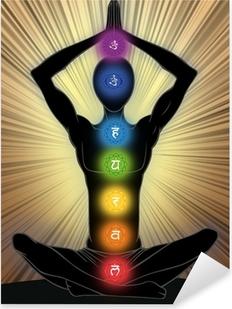 Adesivo Pixerstick Man silhouette in posizione yoga