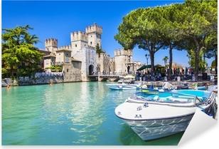 Adesivo Pixerstick Medieval castle Sirmione on lake Lago di Garda