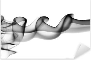 Adesivo Pixerstick Onde astratte fumi neri su fondo bianco