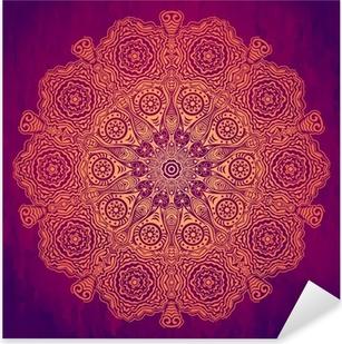 Adesivo Pixerstick Ornamentale pizzo rotondo, cerchio sfondo con molte detai