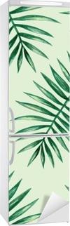 Adesivo per Frigorifero Acquerello tropicali foglie di palma seamless. Illustrazione vettoriale.