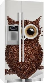 Adesivo per Frigorifero Coffee gufo.