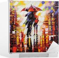 Adesivo per Frigorifero Due innamorato sotto un ombrello