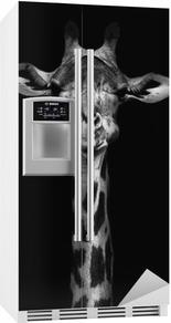Adesivo per Frigorifero Giraffe in bianco e nero