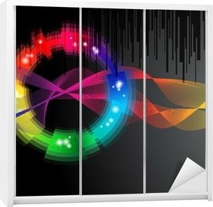 Quadro Su Tela Sfondo Nero Con Arcobaleno Colorato Forma Logo