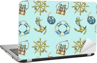 Adesivo per Laptop Seamless con elementi nautici, isolato su sfondo turchese pastello. vecchio binocolo, salvagente, volante antico della barca a vela, ancora della nave. illustrazione di pittura disegnata a mano dell'acquerello.