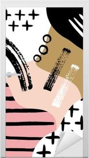Adesivo per Porte Composizione astratta scandinavo in rosa nero, bianco e pastello.