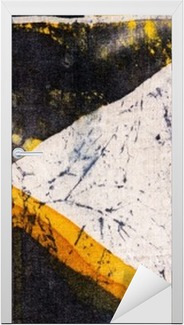 Adesivo per Porte Geometria, batik caldo, texture di sfondo, fatto a mano su seta, il surrealismo arte astratta