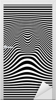 Adesivo per Porte Op arte astratta disegno geometrico illustrazione in bianco e nero vettore