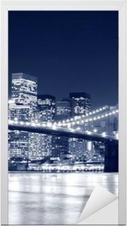 Adesivo per Porte Ponte di Brooklyn e skyline di Manhattan di notte, New York City