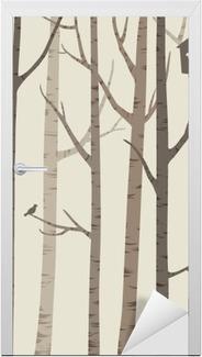Adesivo per Porte Sagome decorative di alberi con un uccello e Birdhouse
