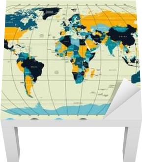 Cartina Del Mondo Con Meridiani E Paralleli.Alta Dettagliate Mappa Del Mondo Con Meridiani E Paralleli