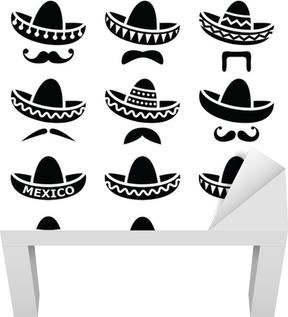 Quadro su Tela Cappello Sombrero messicano con baffi o baffi icone • Pixers®  - Viviamo per il cambiamento a1d0421f0b15