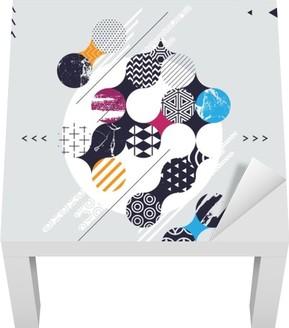 Adesivo per Tavolino Lack Composizione astratta geometrica con i cerchi decorativi