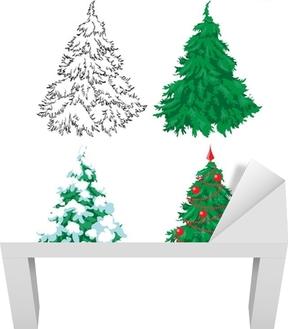 Carta Da Parati Set Di 4 Abeti Disegno A Mano Un Abete Verde Un