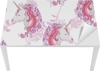 Adesivo Modello Senza Cuciture Arcobaleno E Unicorno Isolato Su