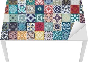 Adesivo splendido design patchwork floreale. piastrelle colorate