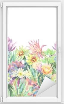 Adesivo per Vetri & Finestre Acquerello fiore background cactus