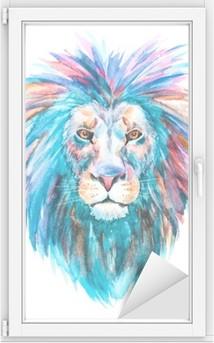 Adesivo per Vetri & Finestre Acquerello vettore leone