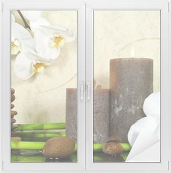 Adesivo per Vetri & Finestre Bianco, orchidee e bambù con le candele e le pietre