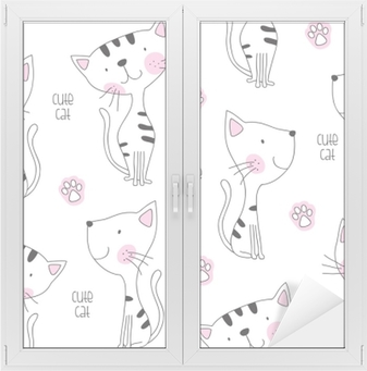 Adesivo per Vetri & Finestre Illustrazione vettoriale di gatto carino modello senza soluzione di continuità