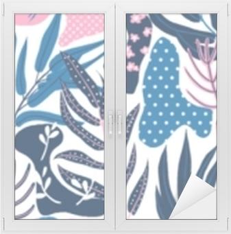 Adesivo per Vetri & Finestre Modello senza cuciture, disegnato a mano pianta astratta, foglia e fiori, toni rosa e blu su sfondo bianco