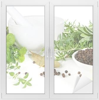 Adesivo per Vetri & Finestre Mortaio e pestello con erbe aromatiche e spezie.