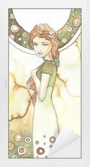 Adesivo per Vetri & Finestre Piękna dziewczyna w zielonej secesji
