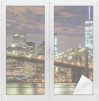 Adesivo per Vetri & Finestre Ponte di Brooklyn e Downtown Grattacieli di New York al crepuscolo