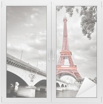 Adesivo per Vetri & Finestre Torre Eiffel in bianco e nero colorazione selettiva