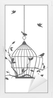 Adesivo per Vetri & Finestre Uccelli liberi con gabbia aperta, vettore