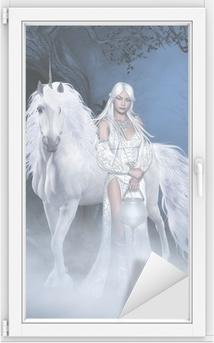 Adesivo per Vetri & Finestre Unicorn e bella fata
