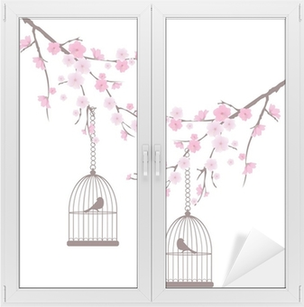 Adesivo per Vetri & Finestre Vettore ciliegio in fiore con uccelli in gabbia