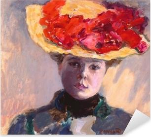 Adesivo Pixerstick Pierre Bonnard - Ragazza con un cappello di paglia