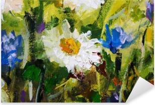 Adesivo Pixerstick Pittura a olio originale di fiori, belli fiori di campo su tela. Modern Impressionism.Impasto opere d'arte.