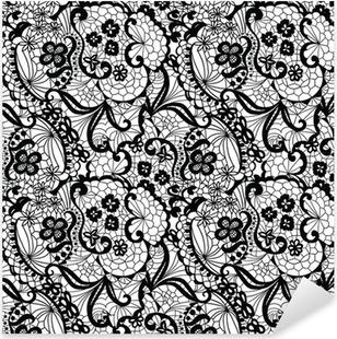 Adesivo Pixerstick Pizzo nero seamless pattern con fiori su sfondo bianco