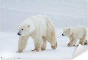 Adesivo Pixerstick Polar mamma orso e cucciolo a piedi sul ghiaccio