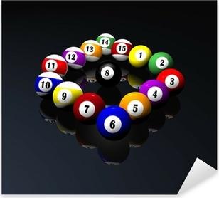 Adesivo Pixerstick Quindici palle da biliardo piscina