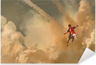 Adesivo Pixerstick Ragazzo che vola nel cielo nuvoloso con razzo jet pack, illustrazione pittura