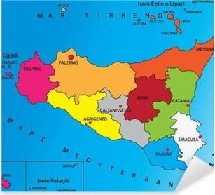Cartina Geografica Della Sicilia.Adesivo Carta Geografica Della Sicilia Pixers Viviamo Per Il