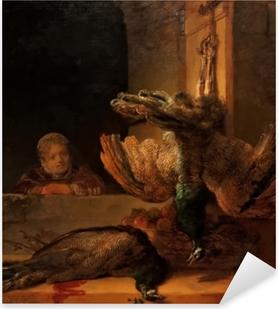 Adesivo Pixerstick Rembrandt - Natura morta con due pavoni e una ragazza