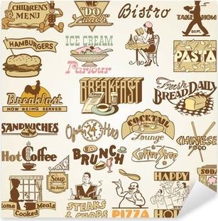 Adesivo Pixerstick Retro Vintage Restaurant etichette, impostare dei temi alimentari vari