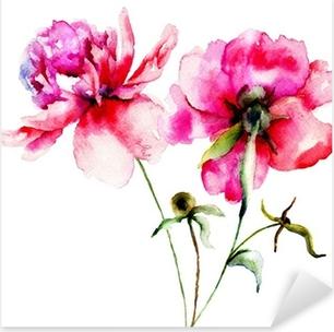 Adesivo Pixerstick Rosso peonia fiori
