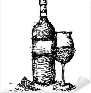 Adesivo Pixerstick Schizzo di disegno della bottiglia di vino e vetro