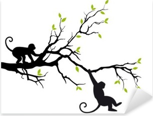 Adesivo Pixerstick Scimmie su albero, vettore