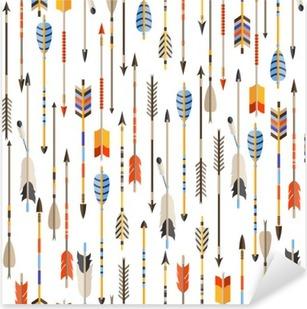 Adesivo Pixerstick Seamless etnico con le frecce indiane in stile nativo