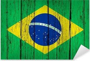 Adesivo Pixerstick Sfondo Brazil Flag legno