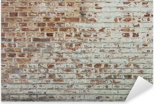 Adesivo Pixerstick Sfondo di un vecchio muro di mattoni annata sporco con intonaco peeling
