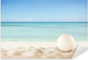 Adesivo Pixerstick Spiaggia di estate con la sfera di pallavolo