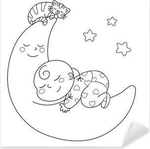 Quadro Su Tela Tenera Luna Con Bebè Che Dorme Pixers Viviamo